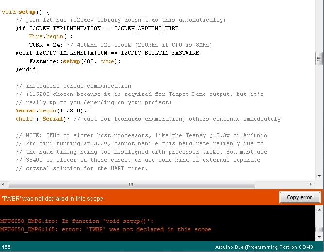 Mpu dmp with arduino due twbr not declared